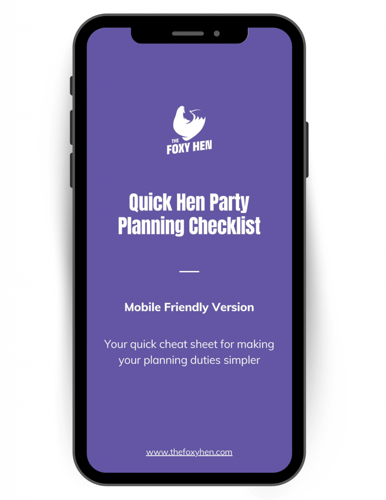The hen party planning checklist shown on a mobile phone screen